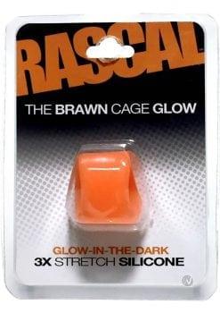 Rascal The Brawn Cage Glow Cock Ring 3x Stretch Silicone Glow In The Dark Orange