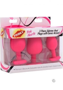 Frisky Pink Hearts Silicone Anal Plugs With Gem Accents Pink 3 Assorted Sizes Per Box