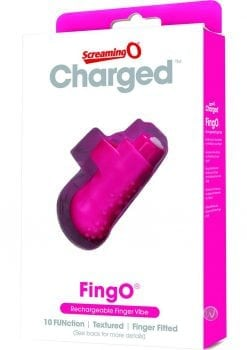 Charged FingO RechargeableFinger Vibe Waterproof Pink