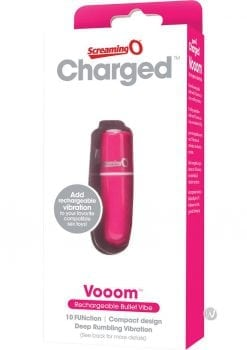 Charged Vooom Rechargeable Bullet Vibe Waterproof Pink