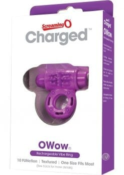 Charged OWow Rechargeable Vibe Ring Waterproof Purple
