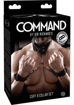 Sir Richard's Command Cuff and Collar Set Black Stainless Steel