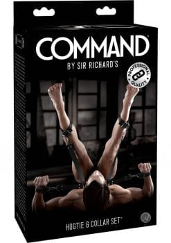 Sir Richard's Command Hogtie and Collar Set Black And Stainless Steel