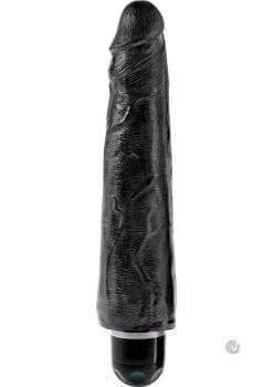 King Cock Vibrating Stiffy Realistic Dildo Waterproof Black 9 Inch