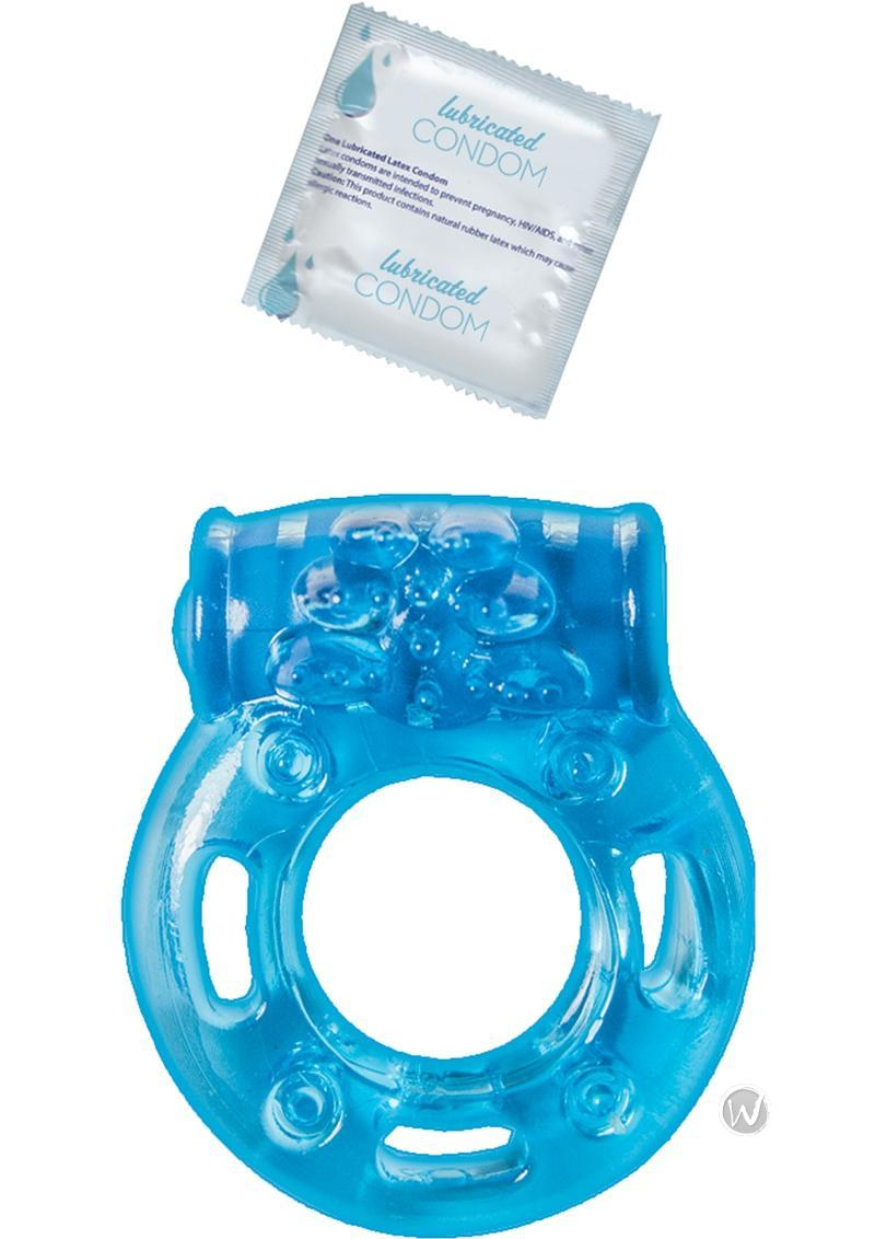 Vibrating Ring With Lubricated Condom Clitoral Pleasure -5585