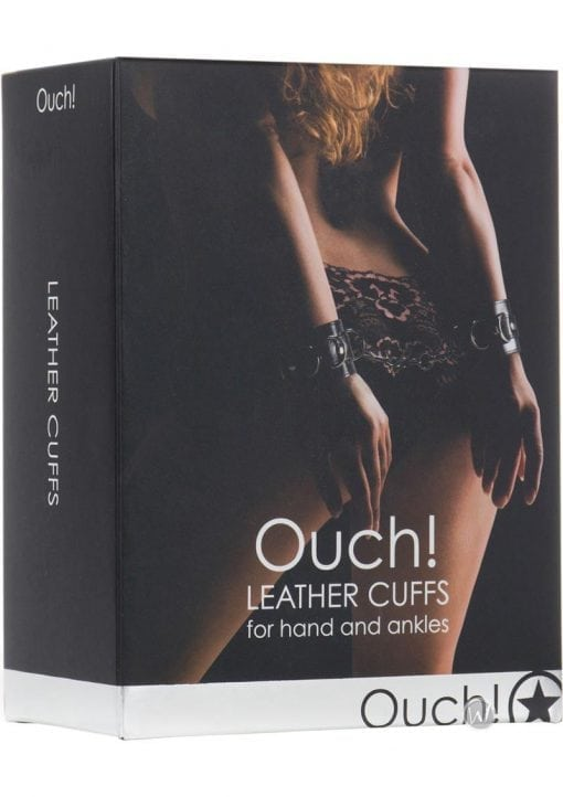 Ouch! Leather Cuffs Black