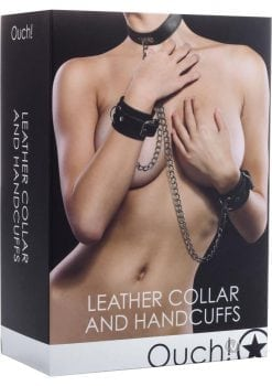 Ouch! Leather Collar And Handcuffs Black