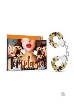 Temptasia Cuffs Adjustable Furry Hand Cuffs With Keys Leopard Print