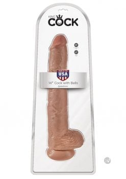 King Cock Realistic Dildo With Balls Tan 14 Inch