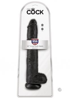 King Cock Realistic Dildo With Balls Black 14 inch