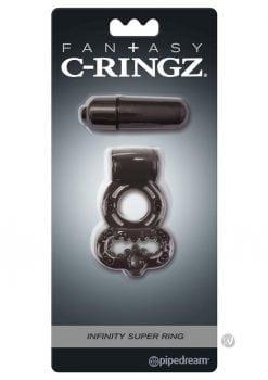 Fantasy C-Ringz Vibrating Infinity Super Ring Textured Cockring Waterproof Black