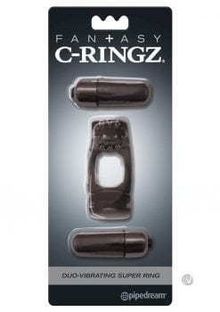 Fantasy C-Ringz Duo-Vibrating Super Ring With Clitoral Stimulation Waterproof Black