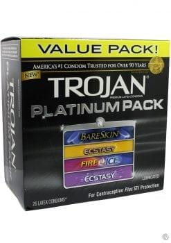 Trojan Platinum Pack Latex Condoms 26 Per Pack