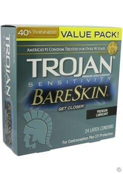 Trojan Sensitivity Bareskin Latex Condoms 24 Per Box