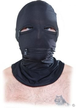 Fetish Fantasy Series Zipper Face Spandex Hood Black One Size
