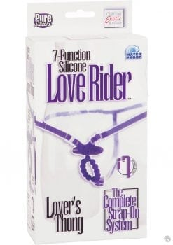 7 Function Love Rider Silicone Vibrating G String Thong Waterproof Purple Adjustable