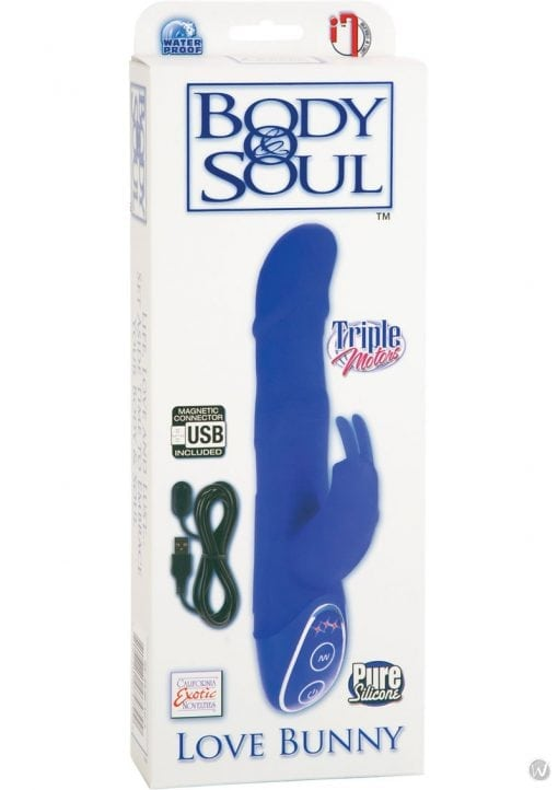 Body and Soul Triple Motor Love Bunny Silicone Vibrator Waterproof Blue