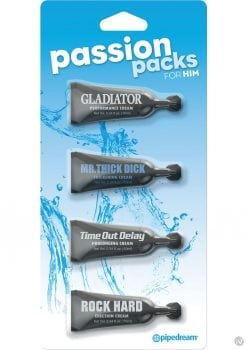 Passion Packs For Him Enhancement Creams .34 Ounce 4 Tubes Per Pack