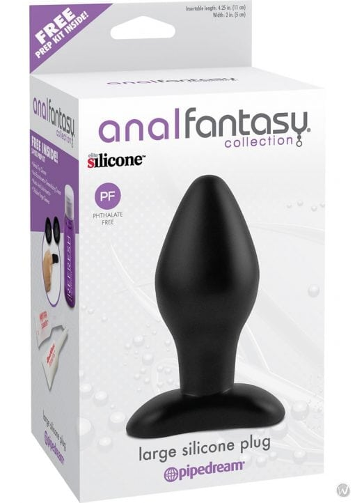 Anal Fantasy Collection Large Silicone Plug Black 4.25 Inch