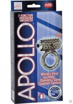 Apollo 7 Fuction Premium Enhancer Vibrating Cockring Smoke 1.5 Inch Diameter