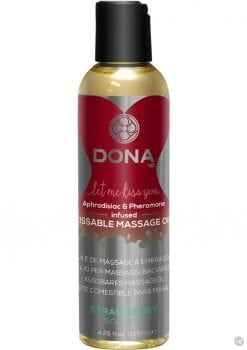 Dona Aphrodisiac and Pheromone Infused Kissable Massage Oil Strawberry Souffle 3.75 Ounce