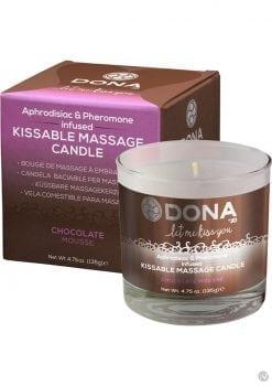 Dona Aphrodisiac and Pheromone Infused Kissable Massage Candle Chocolate Mousse 4.75 Ounce