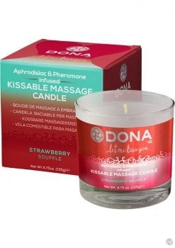 Dona Aphrodisiac and Pheromone Infused Kissable Massage Candle Strawberry Souffle 4.75 Ounce