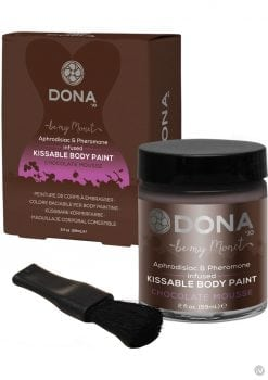 Dona Aphrodisiac and Pheromone Infused Kissable Body Paint Chocolate Mousse 2 Ounce