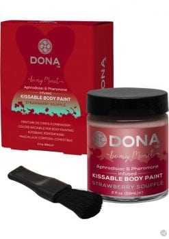 Dona Aphrodisiac and Pheromone Infused Kissable Body Paint Strawberry Souffle 2 Ounce