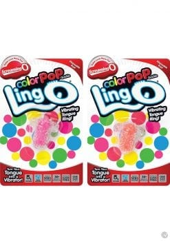 Screaming O Lingo Silicone Vibrating Tongue Ring Waterproof Assorted Colors 12 Each Per Case