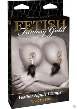 Fetish Fantasy Gold Deluxe Feather Clamps Black