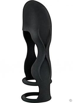 Mack Tuff Sleek Penis Sheath Silicone Sleeve Waterproof Black 6 Inch