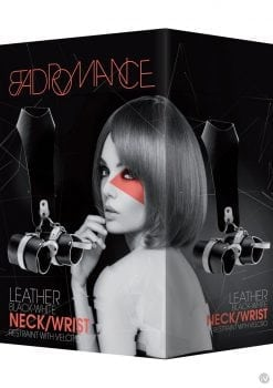 Bad Romance Neck And Wrist Restraint With Velcro Leather Black And White