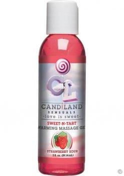 Candiland Sensuals Sweet N Tart Warming Massage Gel Strawberry Sour 2 Ounce - Bulk
