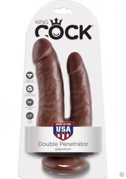 King Cock Double Penetrator Dildo Brown