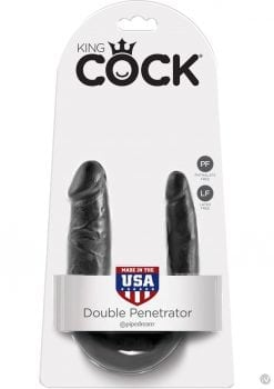 King Cock U-Shaped Small Double Trouble Dildo Black