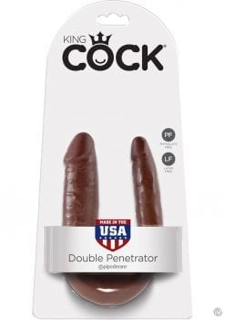 King Cock U-Shaped Small Double Trouble Dildo Brown