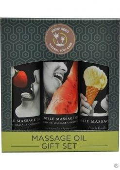 Hemp Seed Natural Body Care Edible Massage Oil Gift Set 3 Each 2 Ounce Bottles