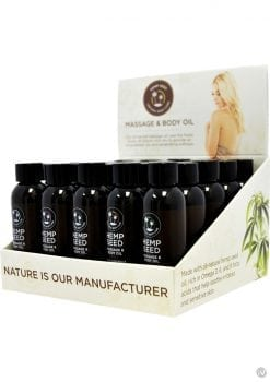 Hemp Seed Massage and Body Oil Display 25 Each Assorted 2 Ounce Bottles Per Counter Display