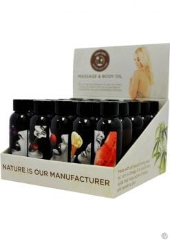 Hemp Seed Massage and Body Flavored Oil Display 25 Each Assorted 2 Ounce Bottles Per Counter Display
