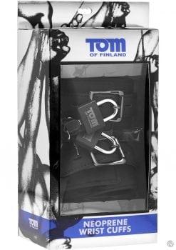 Tom Of Finland Neoprene Wrist Cuffs With Lock Black