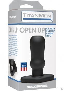 TitanMen Open Up Hollow Tunnel Anal Plug Black 4.5 Inch