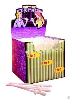 Bachelorette Party Favors Glow In The Dark Pecker Sipping Straws 144 Each Per Counter Display