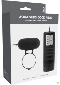 Linxs Aqua Silks Cock Ring Vibrating Wired Remote Control Waterproof Black