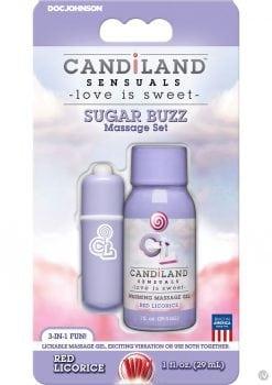 Candiland Sugar Buzz Massage Set Waterproof Bullet Red Licorice