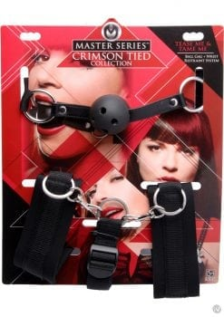 Master Series Crimson Tease Tame Me Ball Gag Wrist Restraint System