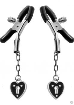 Master Series Platinum Bound Charmed Heart Padlock Nipple Clamps