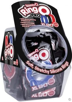 Ring O Pro Xtra Large Silicone Cockrings Waterproof Assorted Colors 24 Piece Bowl