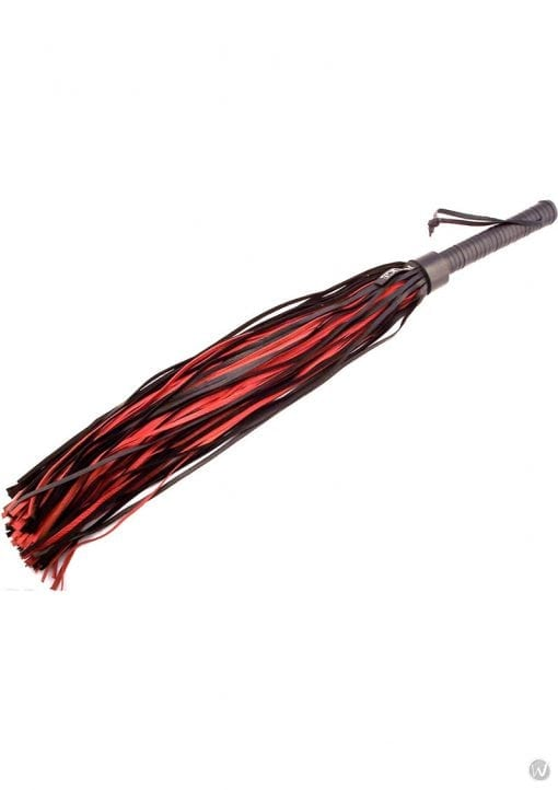 Rouge Leather Handle Leather Flogger Black And Red