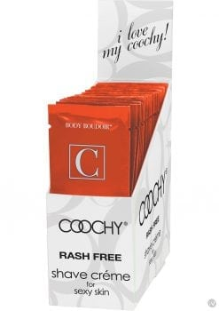 Body Boudoir Coochy Shave Creme Tropical Tease Foil Packs 24 Foils Per Counter Display